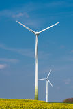Wind-turbines in a rapeseed field Royalty Free Stock Photos