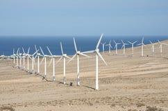 Wind turbines for renewable energy. Canary Island Fuerteventura Royalty Free Stock Photos