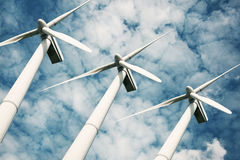 Wind turbines renewable energy. Wind turbines as renewable energy Stock Image