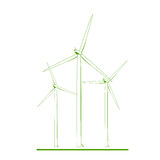 Wind turbines renewable energy concept green white Royalty Free Stock Images