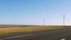 Wind turbines renewable energy generation stock footage
