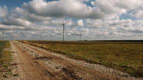 Wind turbines renewable energy generation stock video footage