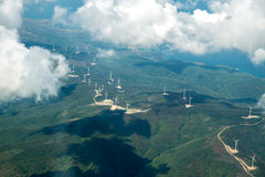 Wind turbines renewable power energy stations. Royalty Free Stock Photography