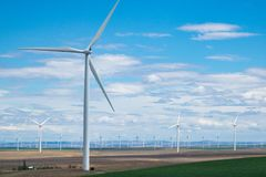 Wind turbines and wheat fields in Eastern Oregon Royalty Free Stock Image