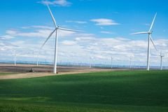 Wind turbines and wheat fields in Eastern Oregon Stock Images