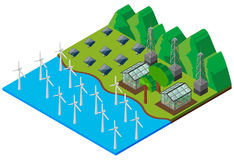 Wind turbines in the river Stock Photo