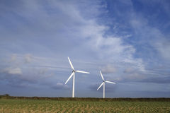 Wind turbines (room for text) Stock Photo