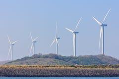 Wind turbines in Rotterdam harbor Royalty Free Stock Photo