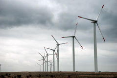 Wind turbines in row Stock Photo