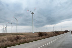 Wind turbines in row Stock Image