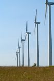 Wind turbines in a Row Royalty Free Stock Photography