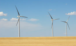 Wind Turbines. A row of wind turbines in Colorado stock photo