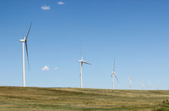 Wind Turbines. A row of wind turbines in Colorado royalty free stock photography