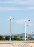 Wind turbines in running. Royalty Free Stock Image
