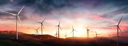 Wind Turbines In Rural Landscape stock image