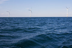 Wind turbines on a sea. Nearby Oland Island in Sweden Stock Photography