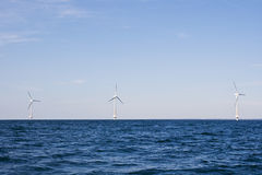 Wind turbines on a sea Royalty Free Stock Images