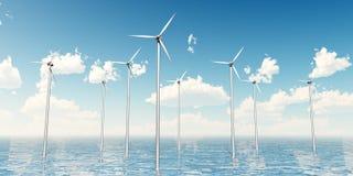 Wind Turbines on the Sea Stock Photo