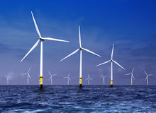 Wind turbines on sea Stock Photo