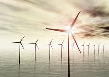 Wind turbines in the sea Stock Image