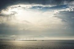 Wind turbines on sea. Wind turbines on the sea Royalty Free Stock Photos