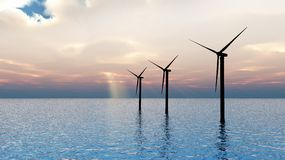 Wind Turbines at sea Stock Images