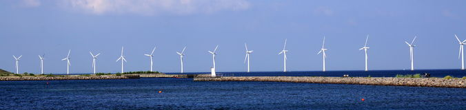 Wind turbines in Sea. In Copenhagen, Denmark Royalty Free Stock Photos
