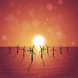 Wind Turbines at Sea Royalty Free Stock Image
