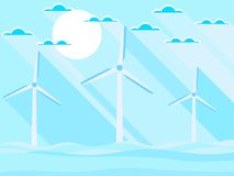 Wind turbines in the sea. Landscape in a flat style with a long shadow. Renewable energy. Vector Stock Photos