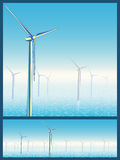 Wind turbines in the sea Stock Photography