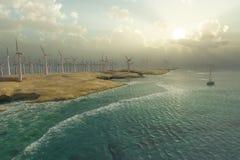 Wind Turbines on the seacoast Stock Image