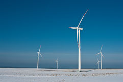 Wind turbines and shadow stock images