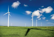 Wind turbines and shadow Royalty Free Stock Image