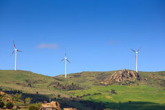 Wind turbines in the Sicily countryside Stock Photos