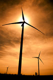 Wind Turbines in Silhouette Royalty Free Stock Photos
