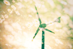 Wind turbines silhouette at sunset with flower field background Royalty Free Stock Photos