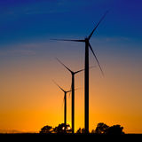 Wind turbines silhouettes Royalty Free Stock Photography
