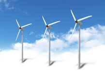 Wind turbines in sky Stock Photos