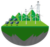 Wind turbines and solar cells on the ground Royalty Free Stock Photo