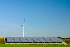 Wind Turbines - Solar Cells Power Plant Stock Photography