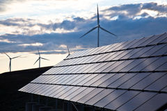 Wind turbines and solar panels Royalty Free Stock Images