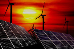 Wind turbines and solar panels Stock Image