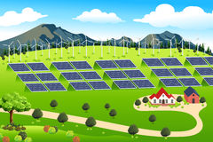 Wind Turbines and Solar Panels Farm. A vector illustration of wind turbines and solar panels farm Stock Images
