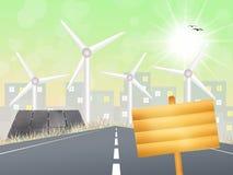 Wind turbines and solar panels Stock Photos