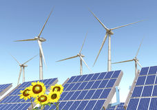 Wind turbines, solar panels and sunflowers Royalty Free Stock Image