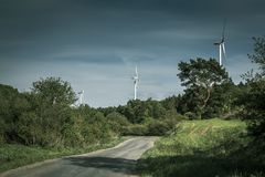 Wind turbines. Some wind turbines in rural area Stock Photography
