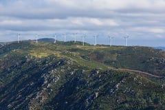 Wind turbines on a spanish mountain stock photos