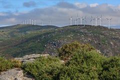 Wind turbines on a spanish mountain range stock images
