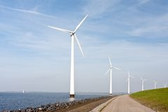 Wind turbines standing in the Dutch sea Royalty Free Stock Images