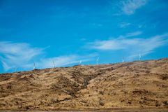 Wind turbines on a steppe hill Stock Photo